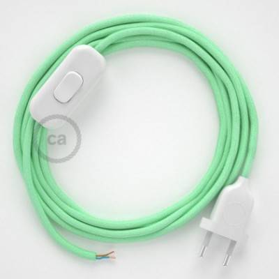 Cableado para lámpara, cable RC34 Algodón Leche y Menta 1,8m. Elige tu el color de la clavija y del interruptor!