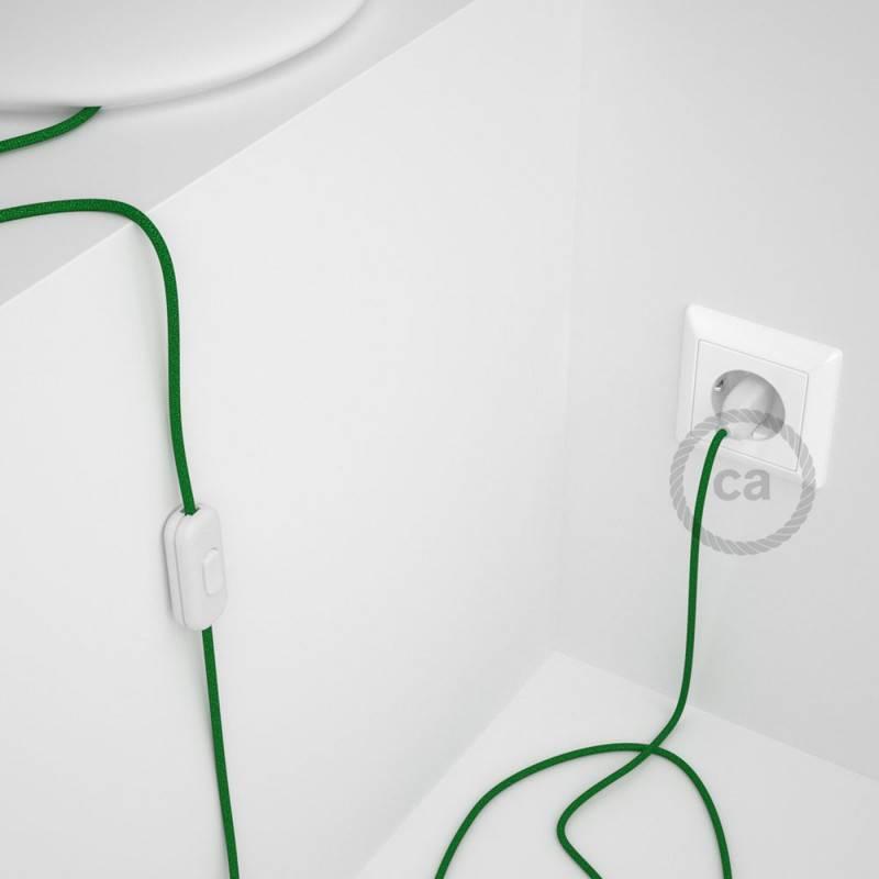 Cableado para lámpara, cable RL06 Efecto Seda Glitter Verde 1,8m. Elige tu el color de la clavija y del interruptor!