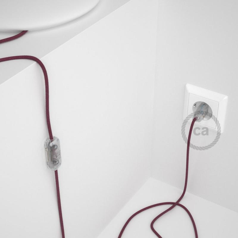 Cableado para lámpara, cable RC32 Algodón Rojo Violeta 1,8m. Elige tu el color de la clavija y del interruptor!