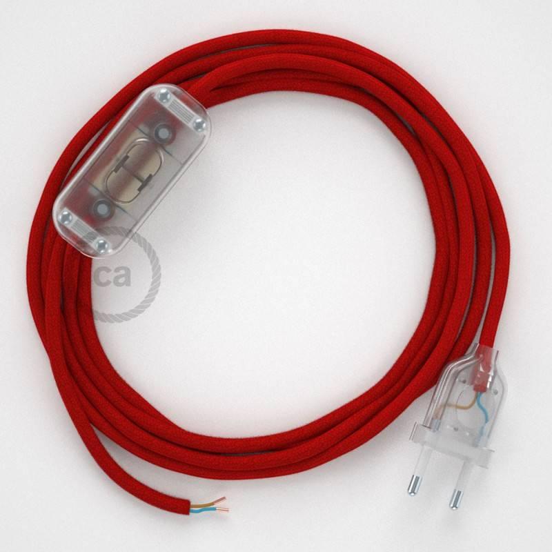 Cableado para lámpara, cable RC35 Algodón Rojo Fuego 1,8m. Elige tu el color de la clavija y del interruptor!