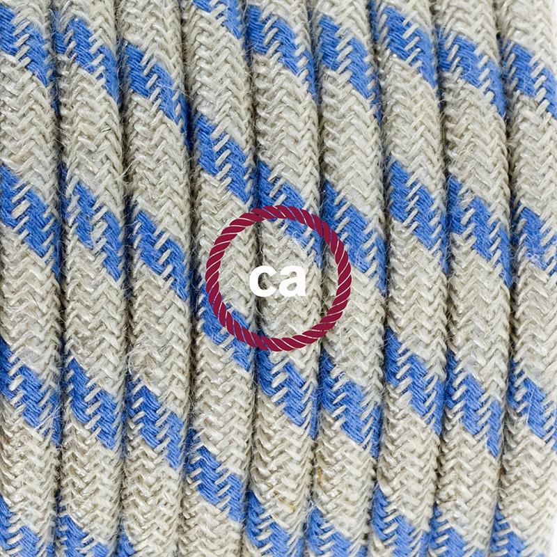 Cableado para lámpara, cable RD55 Algodón y Lino Stripes Azul Steward 1,8m. Elige tu el color de la clavija y del interruptor!