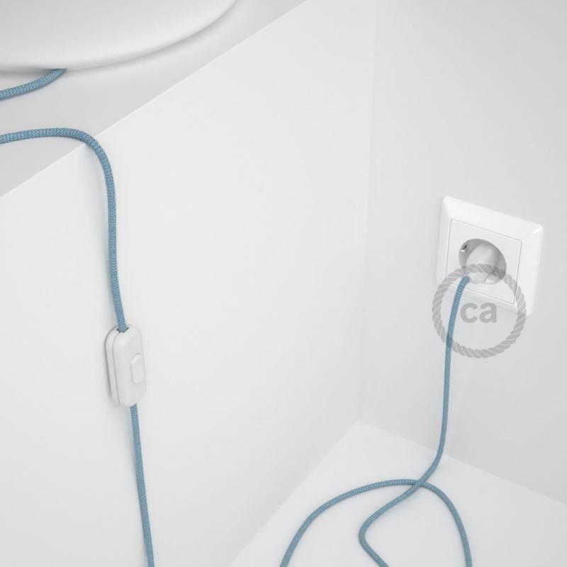 Cableado para lámpara, cable RD75 Algodón y Lino ZigZag Azul Steward 1,8m. Elige tu el color de la clavija y del interruptor!