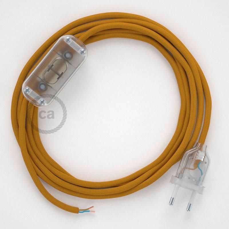 Cableado para lámpara, cable RM25 Efecto Seda Mostaza 1,8m. Elige tu el color de la clavija y del interruptor!