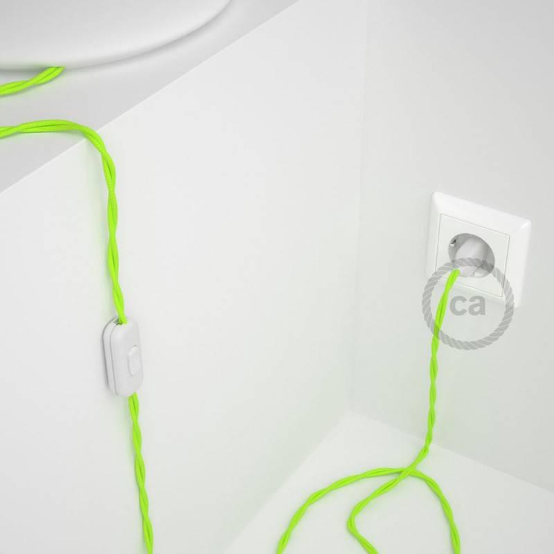 Cableado para lámpara, cable TF10 Efecto Seda Amarillo Fluo 1,8m. Elige tu el color de la clavija y del interruptor!