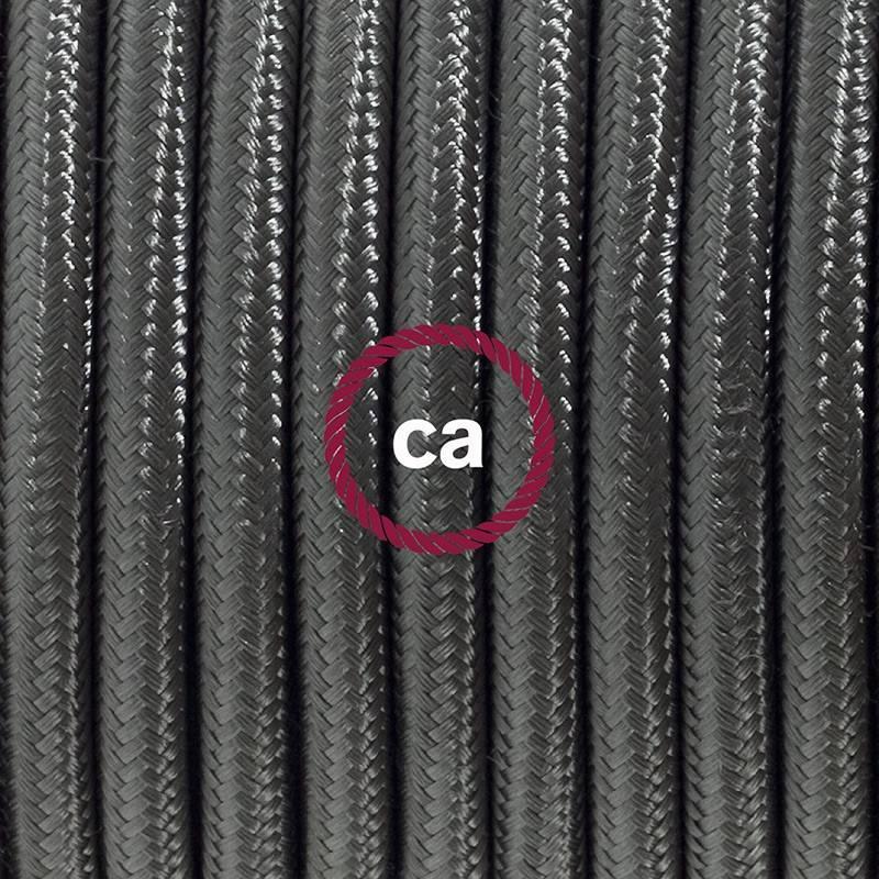 Cableado para lámpara, cable RM26 Efecto Seda Gris Oscuro 1,8m. Elige tu el color de la clavija y del interruptor!