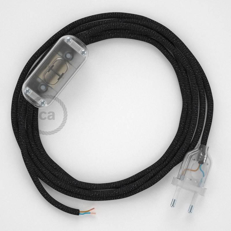 Cableado para lámpara, cable RL04 Efecto Seda Glitter Negro 1,8m. Elige tu el color de la clavija y del interruptor!