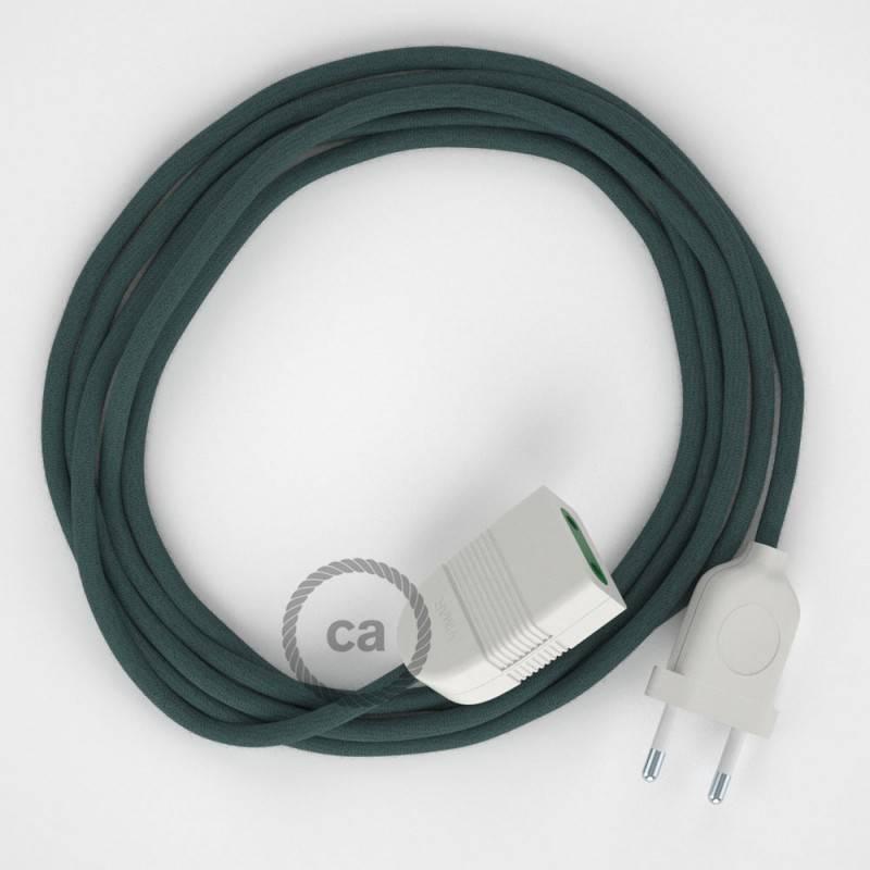 Alargador eléctrico con cable textil RC30 Algodón Gris Piedra 2P 10A Made in Italy.
