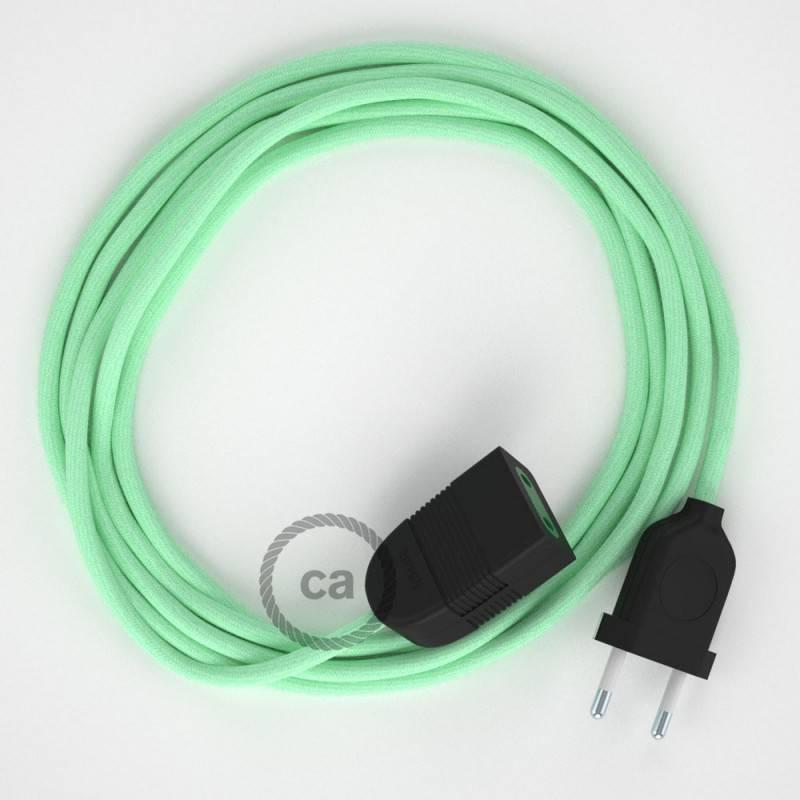 Alargador eléctrico con cable textil RC34 Algodón Leche y Menta 2P 10A Made in Italy.
