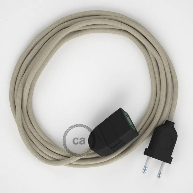 Alargador eléctrico con cable textil RC43 Algodón Gris Pardo 2P 10A Made in Italy.