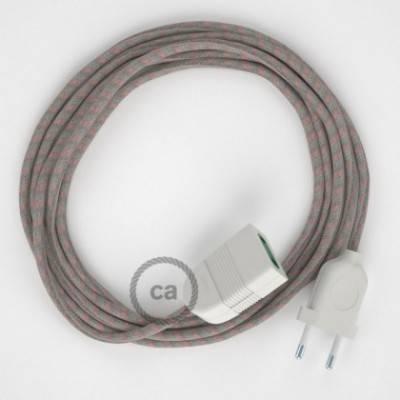 Alargador eléctrico con cable textil RD51 Algodón y Lino Natural Stripes Rosa Viejo 2P 10A Made in Italy.