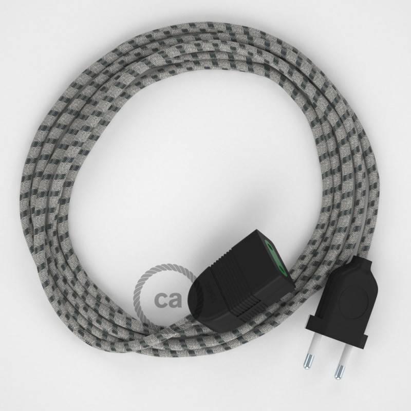 Alargador eléctrico con cable textil RD54 Algodón y Lino Natural Stripes Antracita 2P 10A Made in Italy.