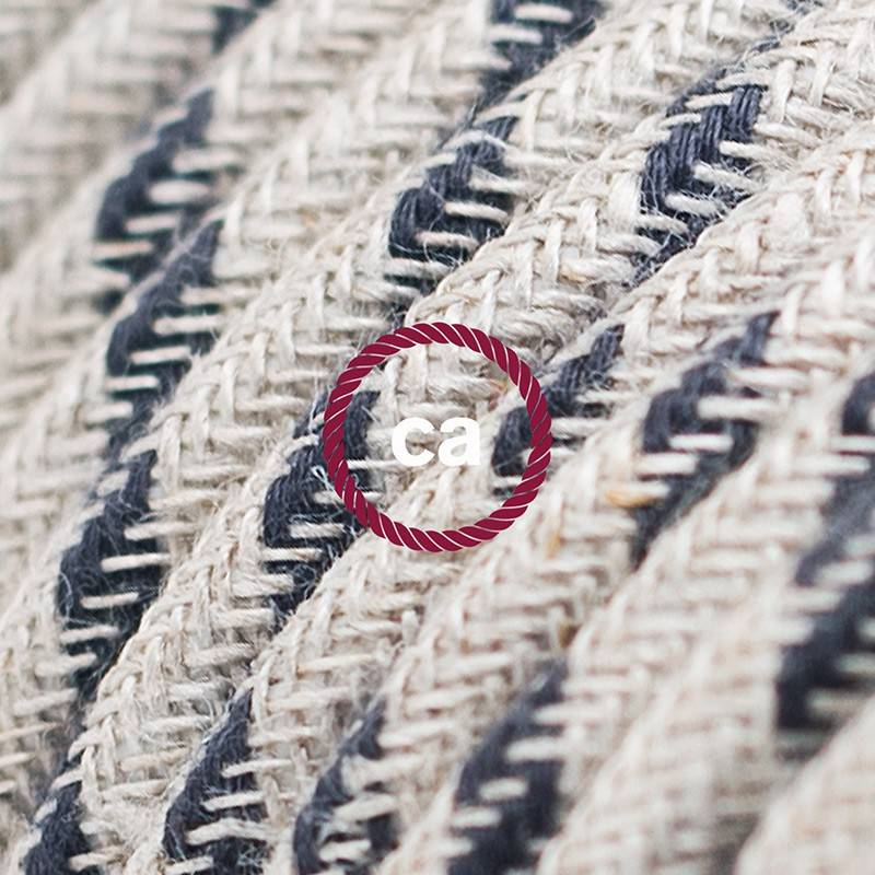 Alargador eléctrico con cable textil RD54 Algodón y Lino Natural Stripes Antracita 2P 10A Made in Italy.