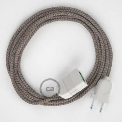 Alargador eléctrico con cable textil RD63 Algodón y Lino Natural Rombo Corteza 2P 10A Made in Italy.