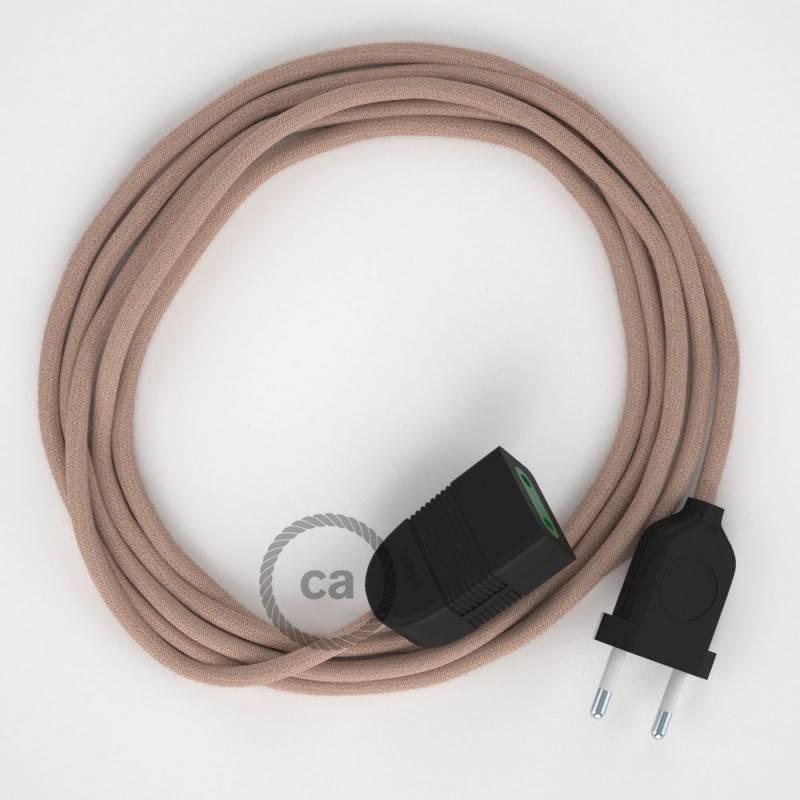 Alargador eléctrico con cable textil RD71 Algodón y Lino Natural ZigZag Rosa Viejo 2P 10A Made in Italy.