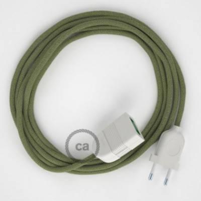 Alargador eléctrico con cable textil RD72 Algodón y Lino Natural ZigZag Verde Tomillo 2P 10A Made in Italy.