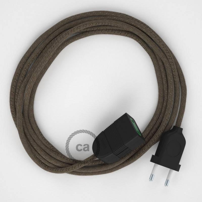Alargador eléctrico con cable textil RD73 Algodón y Lino Natural ZigZag Corteza 2P 10A Made in Italy.