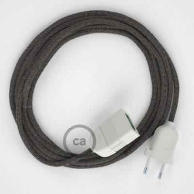 Alargador eléctrico con cable textil RD74 Algodón y Lino Natural ZigZag Antracita 2P 10A Made in Italy.