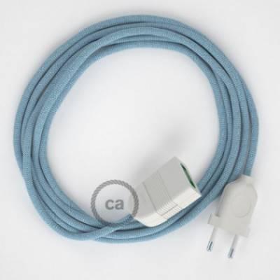 Alargador eléctrico con cable textil RD75 Algodón y Lino Natural ZigZag Azul Steward 2P 10A Made in Italy.