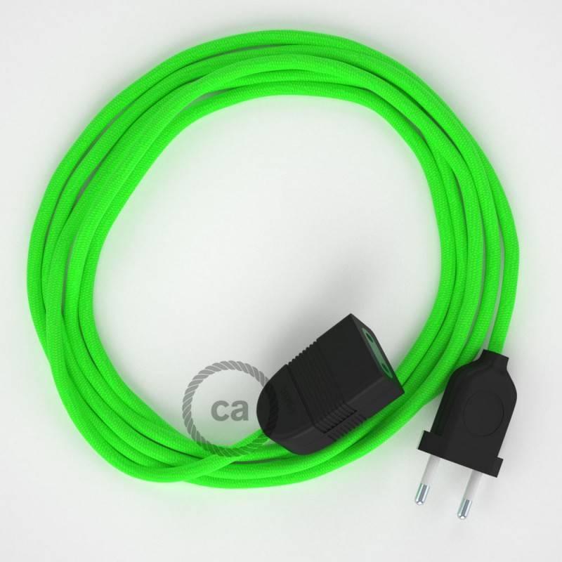 Alargador eléctrico con cable textil RF06 Efecto Seda Verde Flùo 2P 10A Made in Italy.