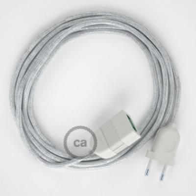 Alargador eléctrico con cable textil RL01 Efecto Seda Glitter Blanco 2P 10A Made in Italy.