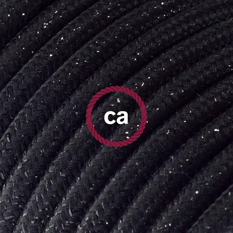 Alargador eléctrico con cable textil RL04 Efecto Seda Glitter Negro 2P 10A Made in Italy.