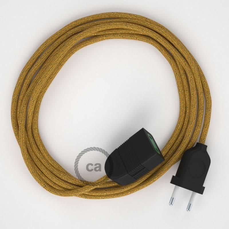 Alargador eléctrico con cable textil RL05 Efecto Seda Glitter Dorado 2P 10A Made in Italy.