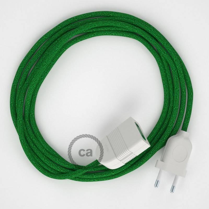 Alargador eléctrico con cable textil RL06 Efecto Seda Glitter Verde 2P 10A Made in Italy.