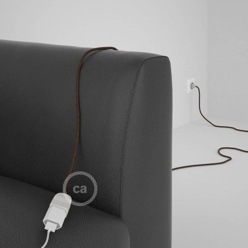 Alargador eléctrico con cable textil RL13 Efecto Seda Glitter Marrón 2P 10A Made in Italy.