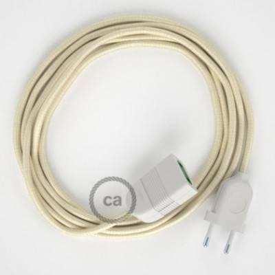 Alargador eléctrico con cable textil RM00 Efecto Seda Marfil 2P 10A Made in Italy.