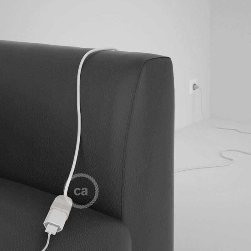 Alargador eléctrico con cable textil RM01 Efecto Seda Blanco 2P 10A Made in Italy.
