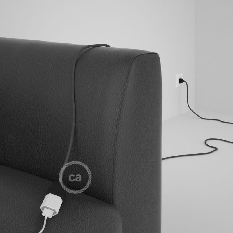 Alargador eléctrico con cable textil RM03 Efecto Seda Gris 2P 10A Made in Italy.