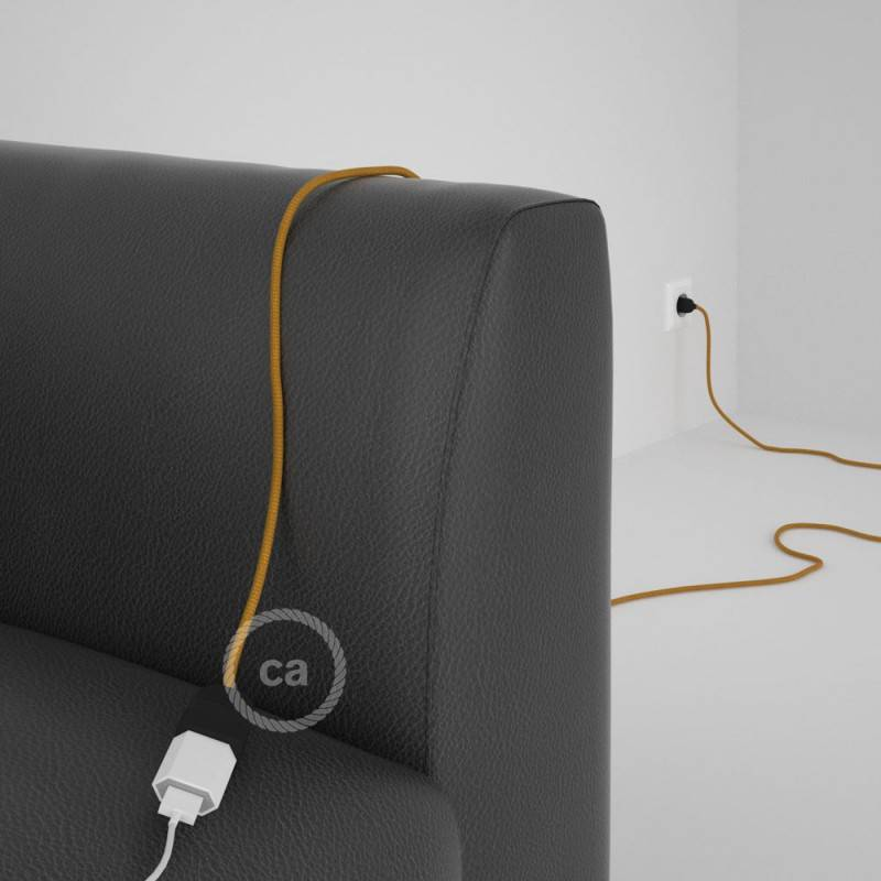 Alargador eléctrico con cable textil RM05 Efecto Seda Dorado 2P 10A Made in Italy.