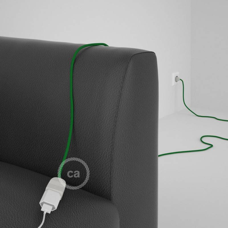 Alargador eléctrico con cable textil RM06 Efecto Seda Verde 2P 10A Made in Italy.