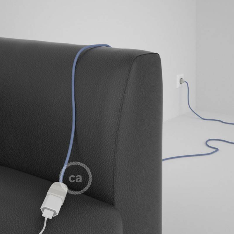 Alargador eléctrico con cable textil RM07 Efecto Seda Lila 2P 10A Made in Italy.