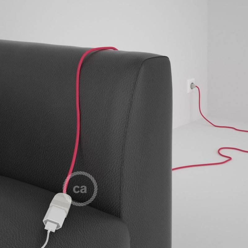 Alargador eléctrico con cable textil RM08 Efecto Seda Fuchsia 2P 10A Made in Italy.