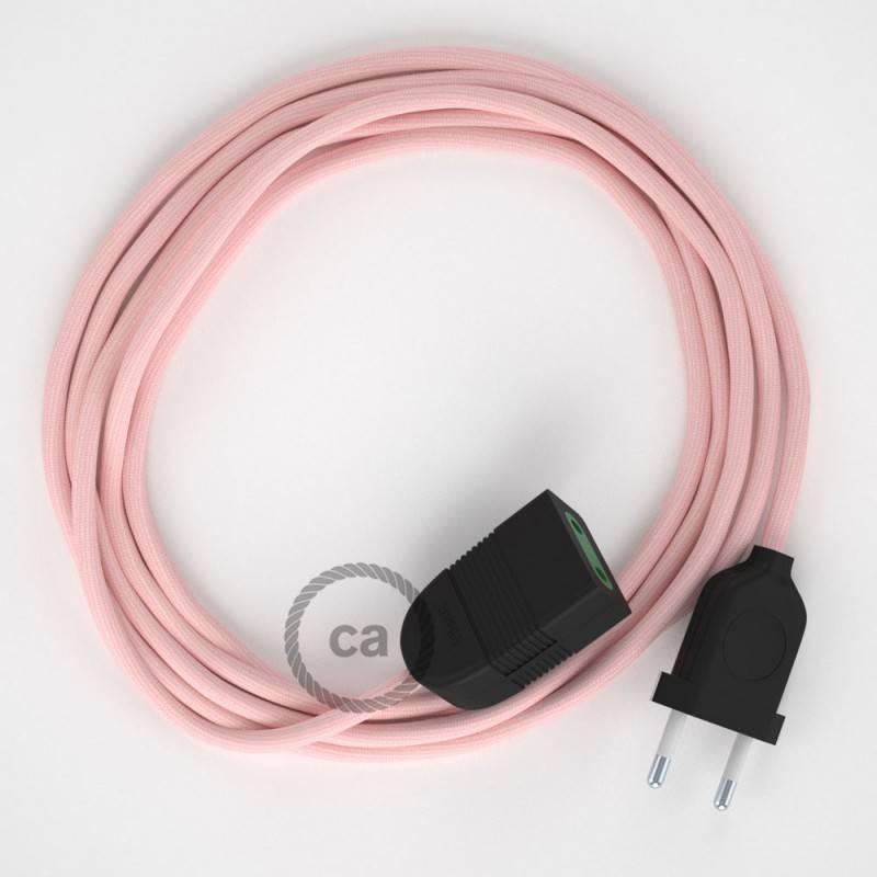 Alargador eléctrico con cable textil RM16 Efecto Seda Rosa Bebé 2P 10A Made in Italy.