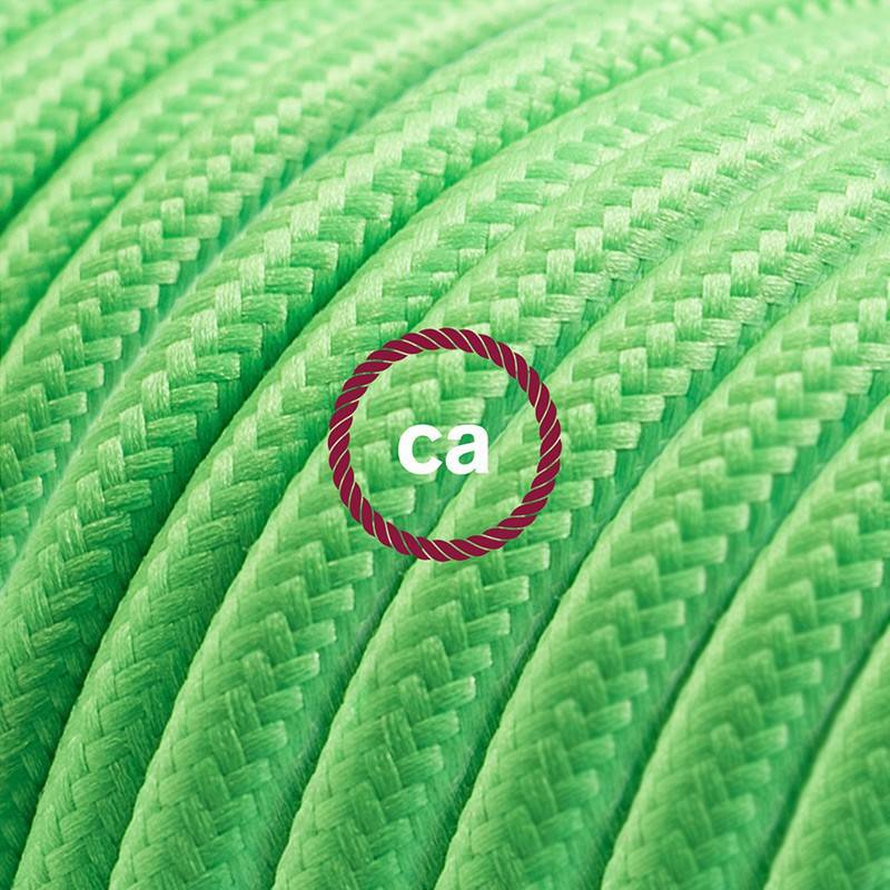 Alargador eléctrico con cable textil RM18 Efecto Seda Verde Lima 2P 10A Made in Italy.