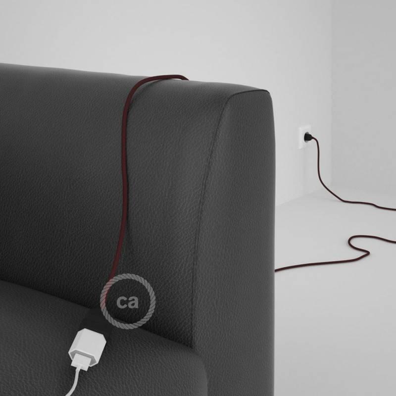 Alargador eléctrico con cable textil RM19 Efecto Seda Burdeos 2P 10A Made in Italy.
