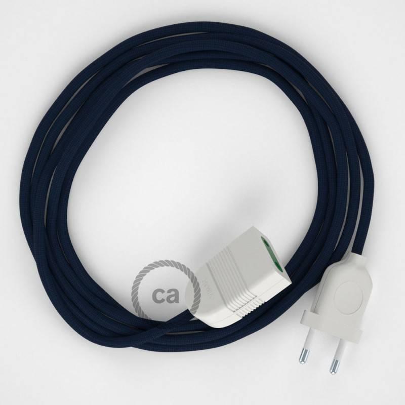 Alargador eléctrico con cable textil RM20 Efecto Seda Azul Marino 2P 10A Made in Italy.
