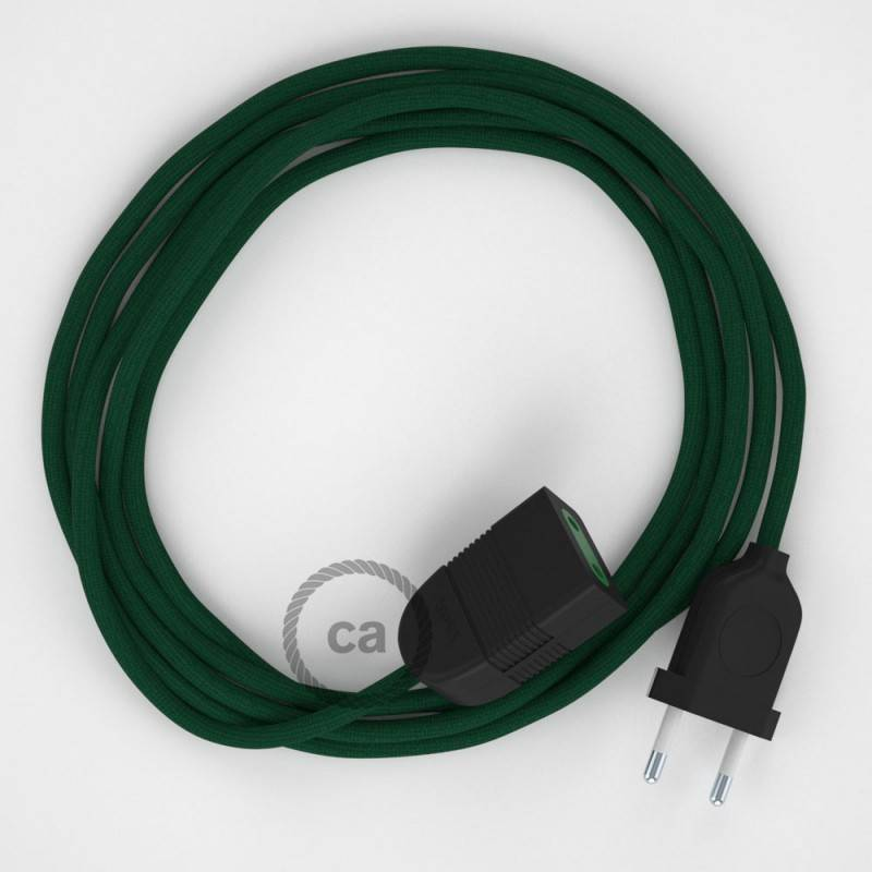 Alargador eléctrico con cable textil RM21 Efecto Seda Verde Oscuro 2P 10A Made in Italy.