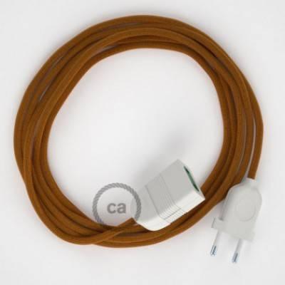 Alargador eléctrico con cable textil RM22 Efecto Seda Whiskey 2P 10A Made in Italy.