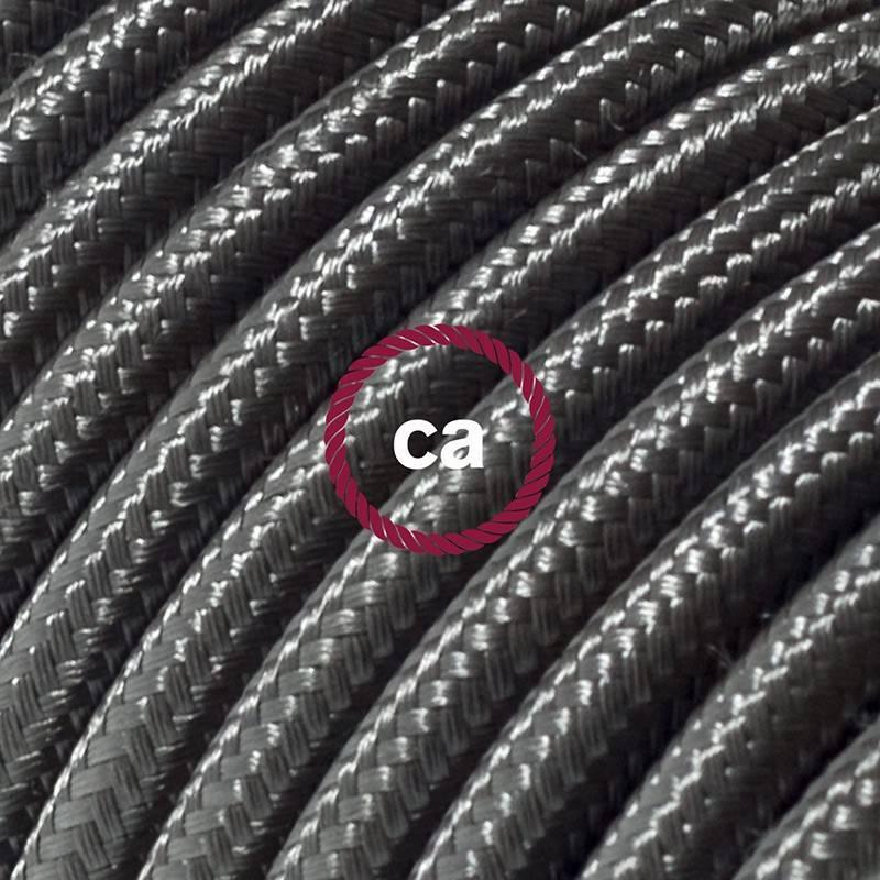 Alargador eléctrico con cable textil RM26 Efecto Seda Gris Oscuro 2P 10A Made in Italy.