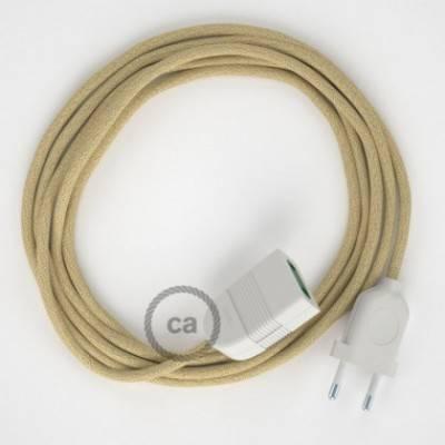 Alargador eléctrico con cable textil RN06 Jute 2P 10A Made in Italy.
