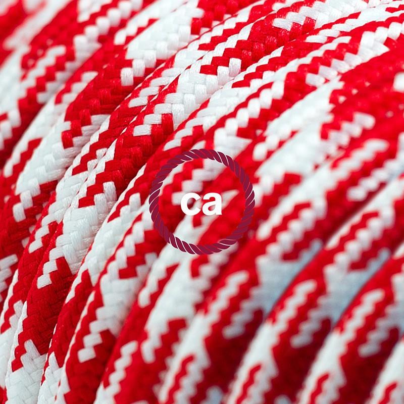 Alargador eléctrico con cable textil RP09 Efecto Seda Bicolor Blanco-Rojo 2P 10A Made in Italy.