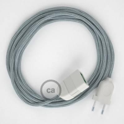 Alargador eléctrico con cable textil RT14 Efecto Seda Stracciatella 2P 10A Made in Italy.