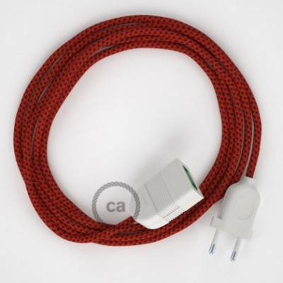 Alargador eléctrico con cable textil RT94 Efecto Seda Red Devil 2P 10A Made in Italy.