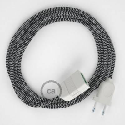 Alargador eléctrico con cable textil RZ04 Efecto Seda ZigZag Blanco Negro 2P 10A Made in Italy.