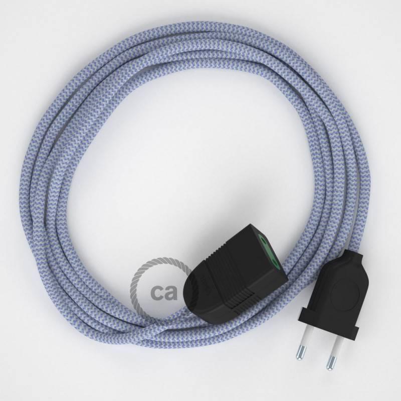 Alargador eléctrico con cable textil RZ07 Efecto Seda ZigZag Blanco Lila 2P 10A Made in Italy.