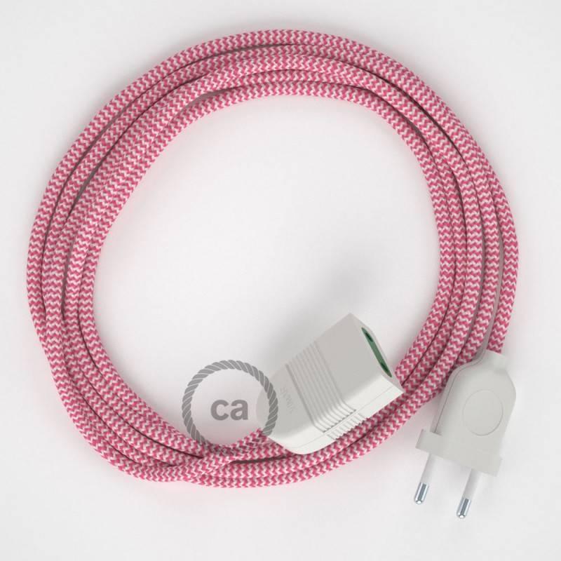 Alargador eléctrico con cable textil RZ08 Efecto Seda ZigZag Blanco Fuchsia 2P 10A Made in Italy.