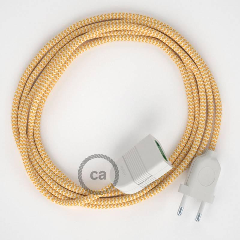 Alargador eléctrico con cable textil RZ10 Efecto Seda ZigZag Blanco Amarillo 2P 10A Made in Italy.